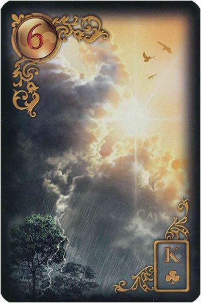 Lenormand Gilded Reverie Karte 06 – Wolken: Angst und Unklarheit