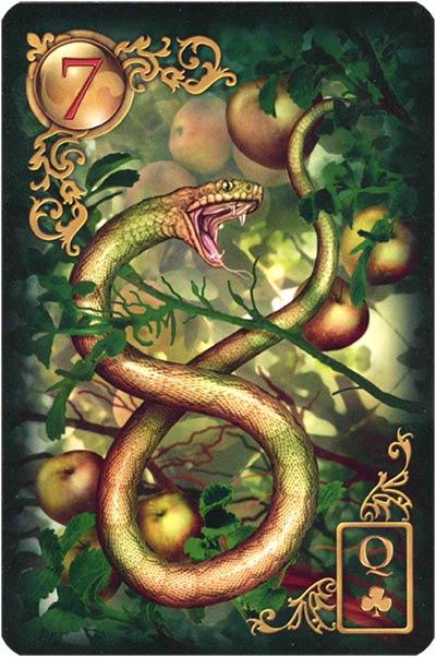 Lenormand Gilded Reverie Karte 07 – Schlange: Komplikationen