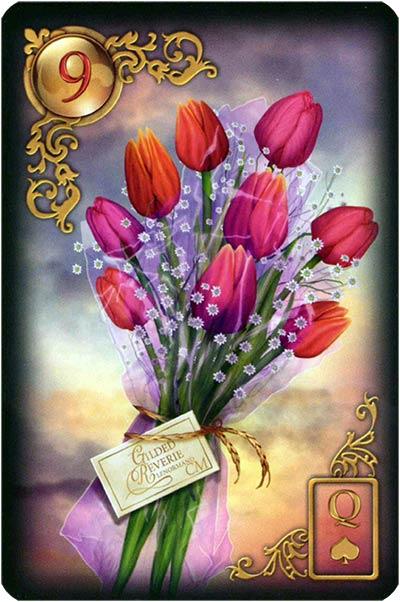 Lenormand Gilded Reverie Karte 09 – Blumen: Freude und Harmonie