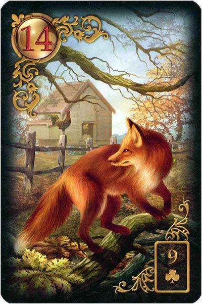 Lenormand Gilded Reverie Karte 14 – Fuchs: Falschheit