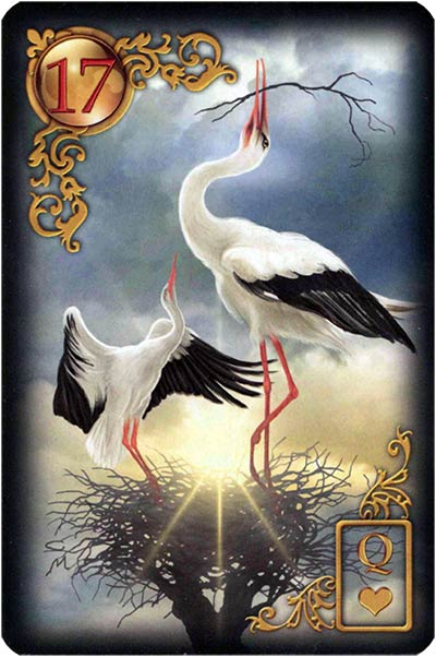 Lenormand Gilded Reverie Karte 17 – Störche: Veränderung