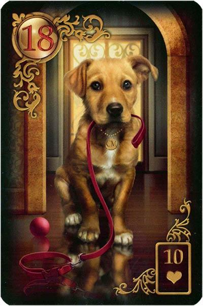 Lenormand Gilded Reverie Karte 18 – Hund: Treue und Freundschaft