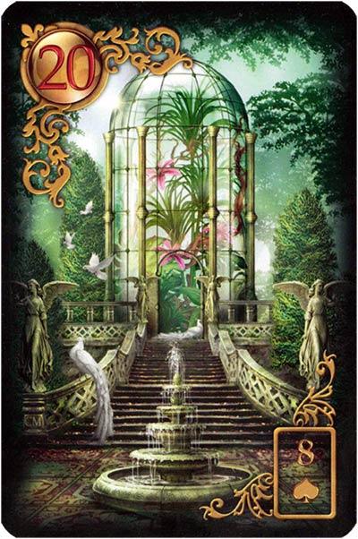 Lenormand Gilded Reverie Karte 20 – Park: Öffentlichkeit und Fassade