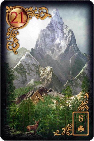 Lenormand Gilded Reverie Karte 21 – Berg: Blockade
