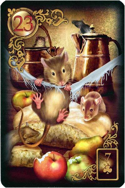 Lenormand Gilded Reverie Karte 23 – Mäuse: Teilverlust und Mangel