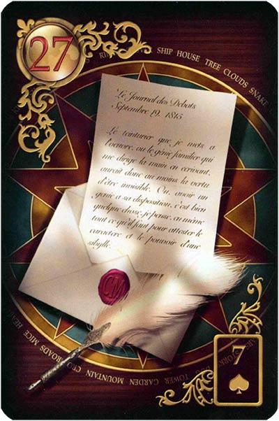 Lenormand Gilded Reverie Karte 27 – Brief: Kommunikation