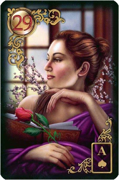 Lenormand Gilded Reverie Karte 29 – Dame: Fragestellerin oder Partnerin