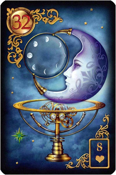 Lenormand Gilded Reverie Karte 32 – Mond: Psyche