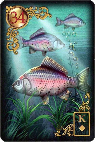 Lenormand Gilded Reverie Karte 34 – Fische: Finanzen und Gefühle
