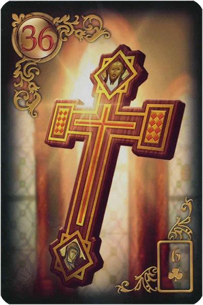 Lenormand Gilded Reverie Karte 36 – Kreuz: Schicksal und Glaube